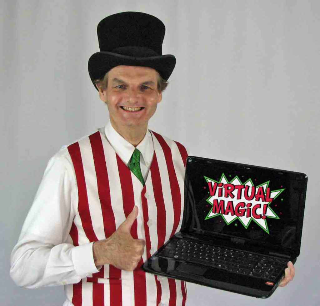 Magician in red and white striped vest wearing top hat holding a laptop computer